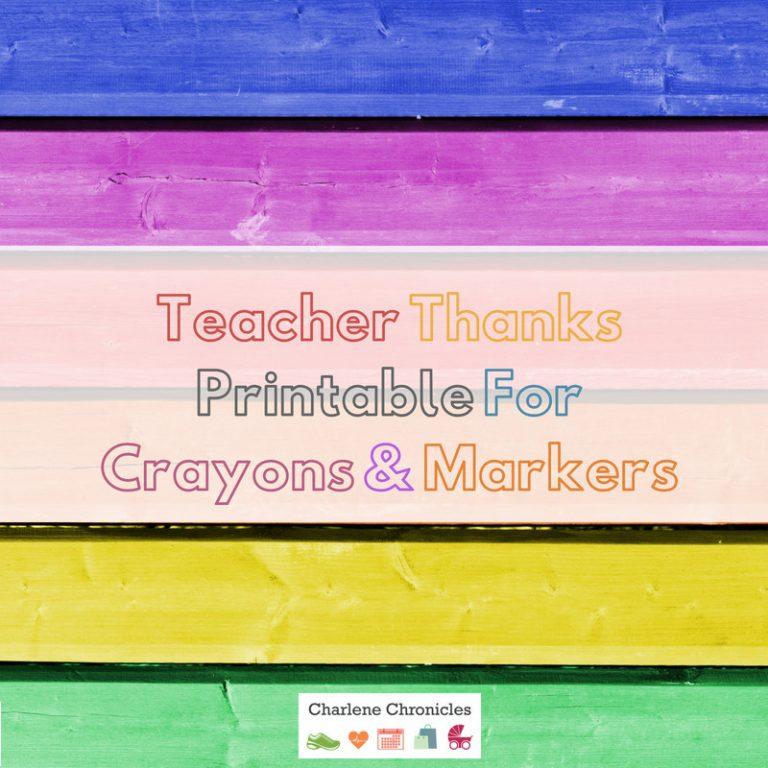 Teacher Thank You Printable With Crayola Color